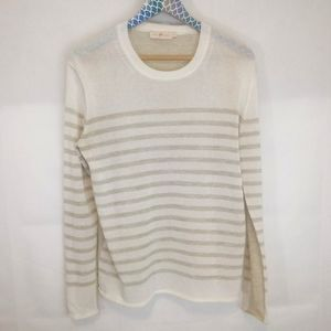 Tory Burch Ivory and Gold Striped Sweater M